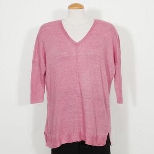 Purple Linen Delave Jersey Long Boxy Sweater Top L